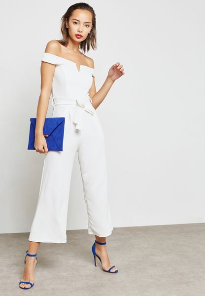 Notched Self Tie Culotte Jumpsuit