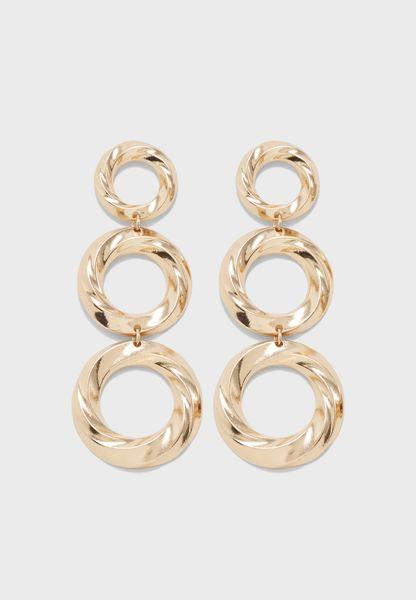 Twisted 3 Ring Drop Earrings