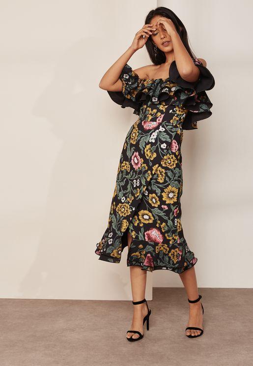 Floral Print Ruffle Detail Bardot Dress