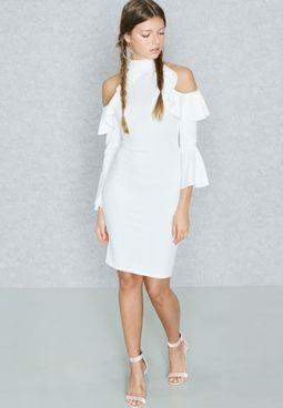 Ruffle Detail Cold Shoulder Dress