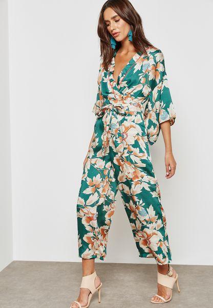 Printed Kimono Sleeve Tie Jumpsuit