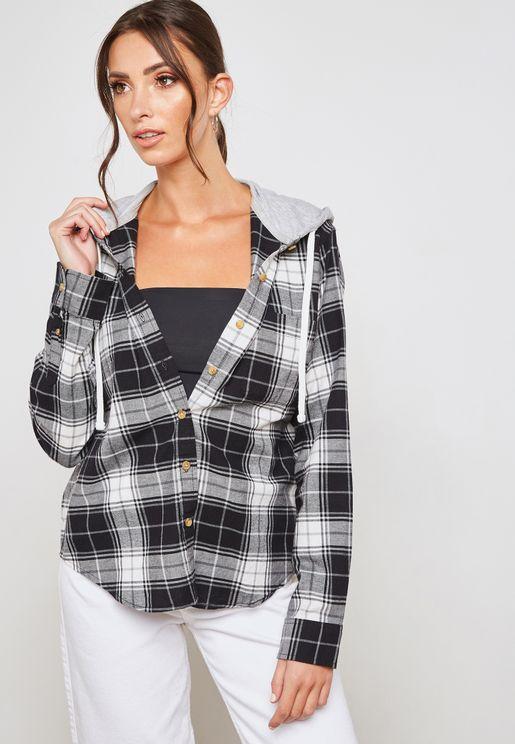Plaid Hooded Flannel Shirt