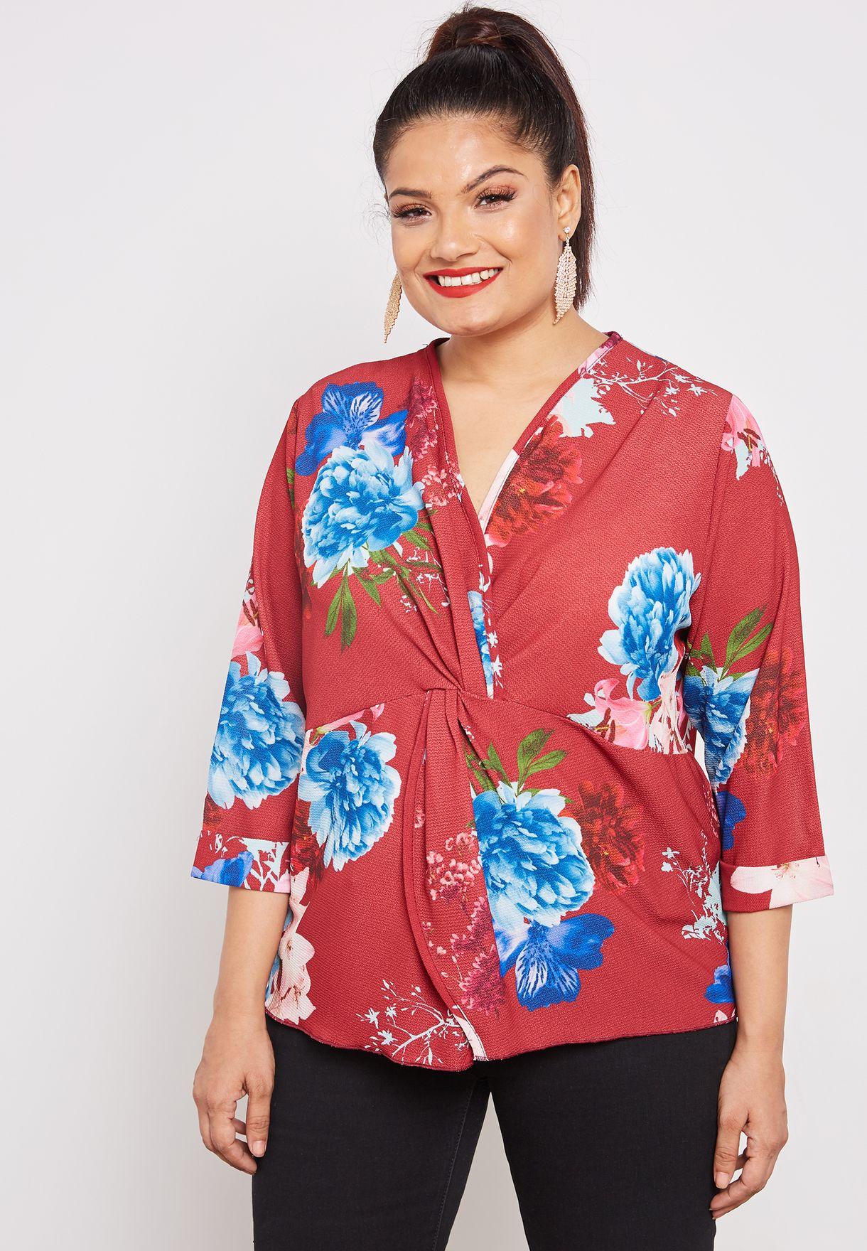 01b3950c2610eb Shop Quiz Curve prints Floral Print Wrap Top 00100016030 for Women ...