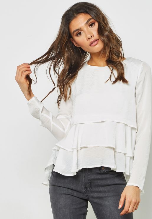 Frill Detail High Low Top