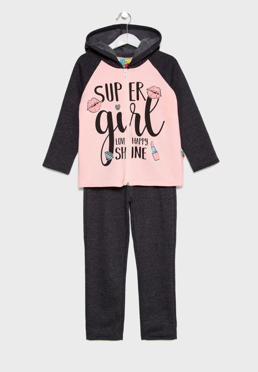 Little Hooded Jacket + Sweatpants Set