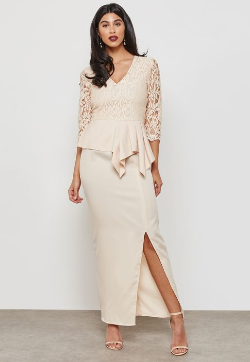 Lace Top Peplum Slit Dress