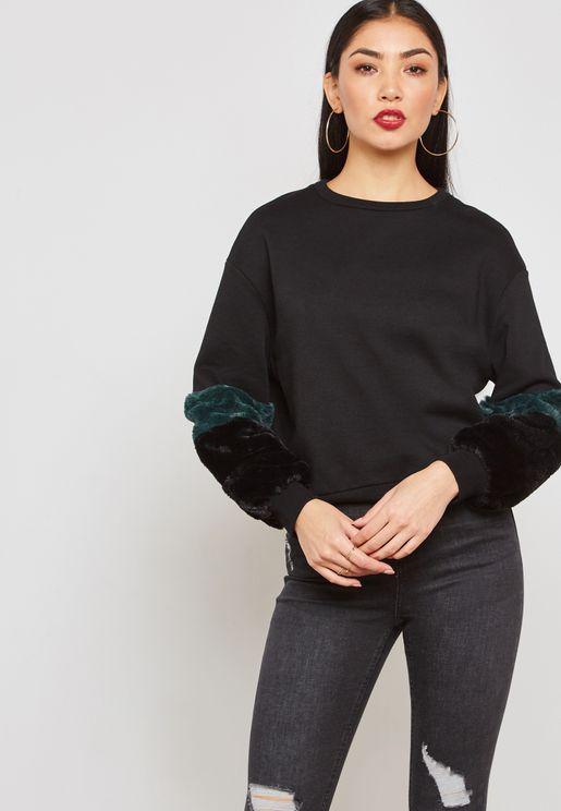 Faux Fur Sleeve Detail Sweatshirt