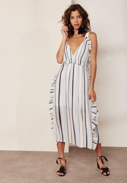 Striped Frill Trim Maxi Dress