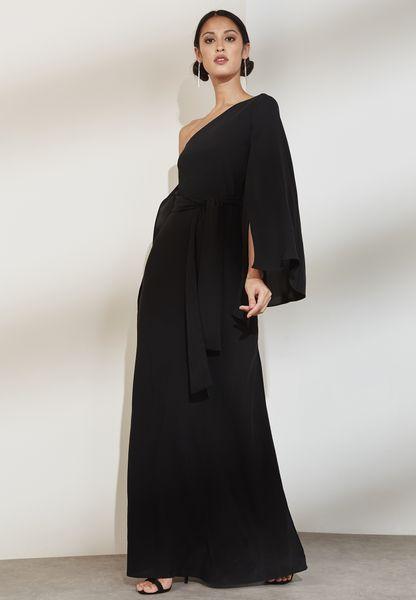 One Shoulder Sleeve Detail Maxi Dress