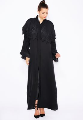Haya's Closet Embroidered Lace Cape Abaya