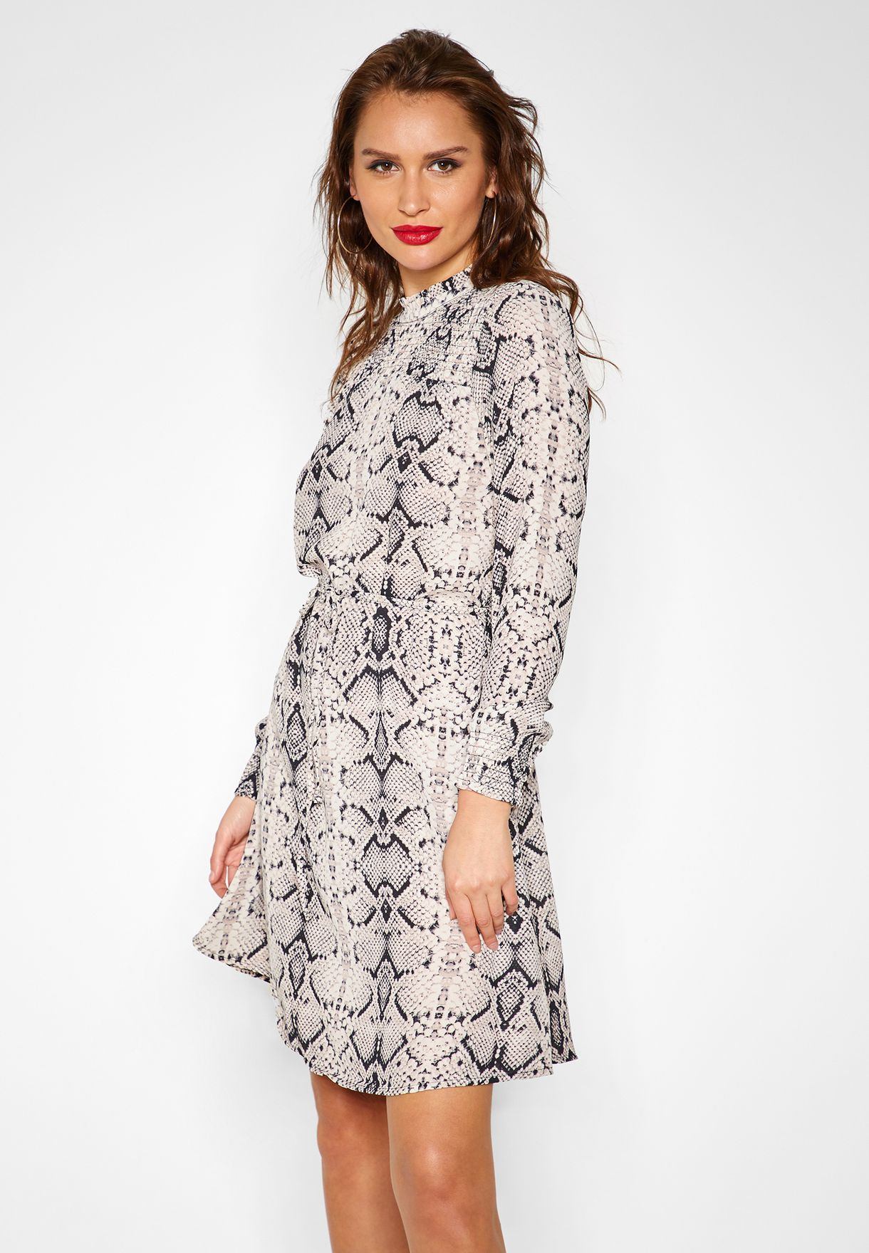 Snake Print Long Sleeve Dress