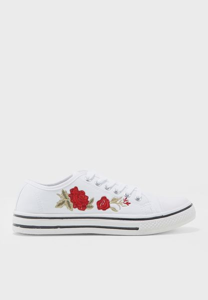 Rose Printed Lace Up Sneakers
