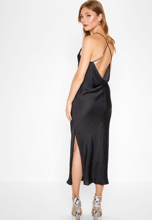 Side Split Cross Back Dress