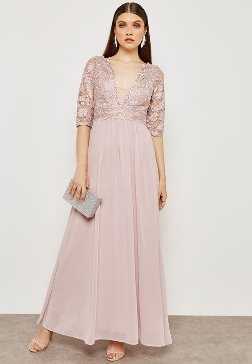 Plunge Illusion Lace Dress