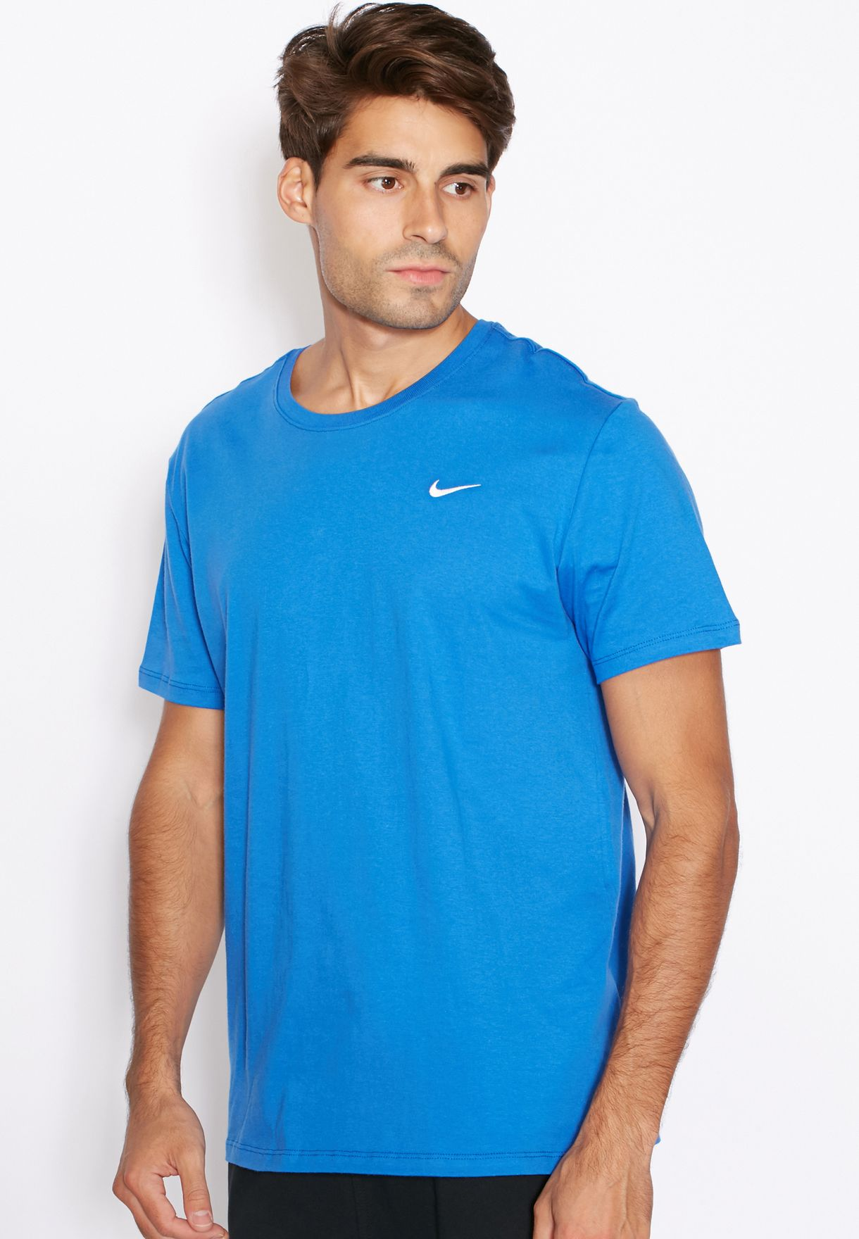 9c69946b Shop Nike blue Embroidery Swoosh T-Shirt 707350-463 for Men in UAE ...