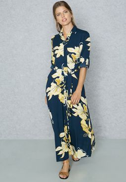 Floral Print Self Tie Shirt Dress