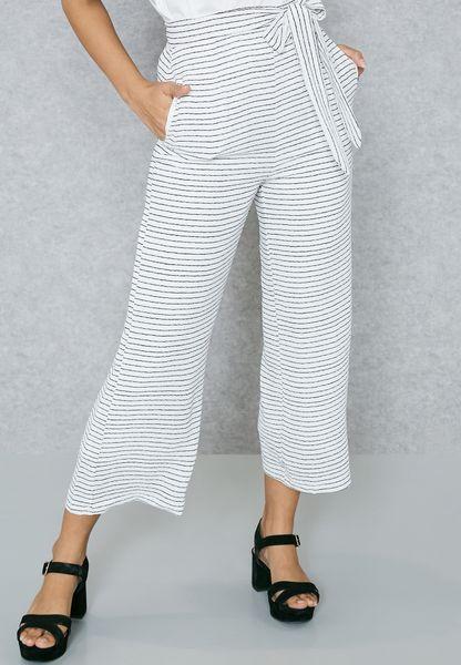 Striped Wide Leg Cullotte Pants