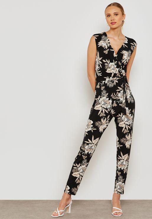Palm Print Belted Jumpsuit
