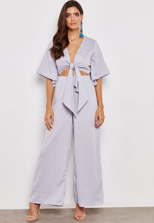 Front Twisted Wide Leg Jumpsuit