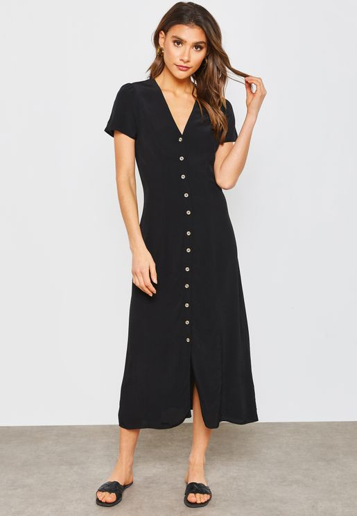 Button Through Short Sleeve Dress