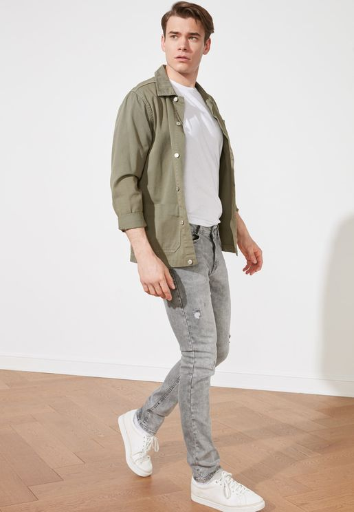 Mid Wash Normal Rise Skinny Fit Jeans
