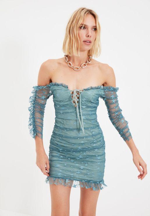 Mesh Sleeve Bodycon Dress