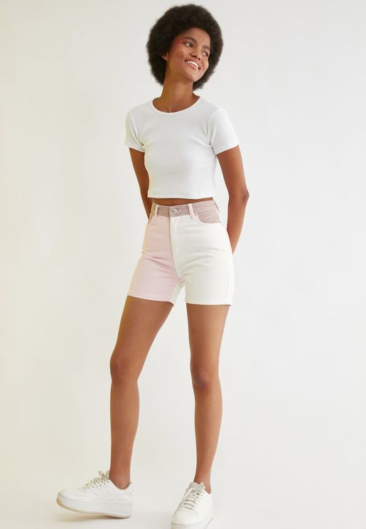 Colorblock Denim Shorts