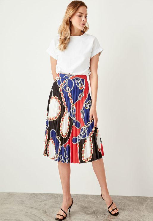Pleated Rope Print Midi Skirt
