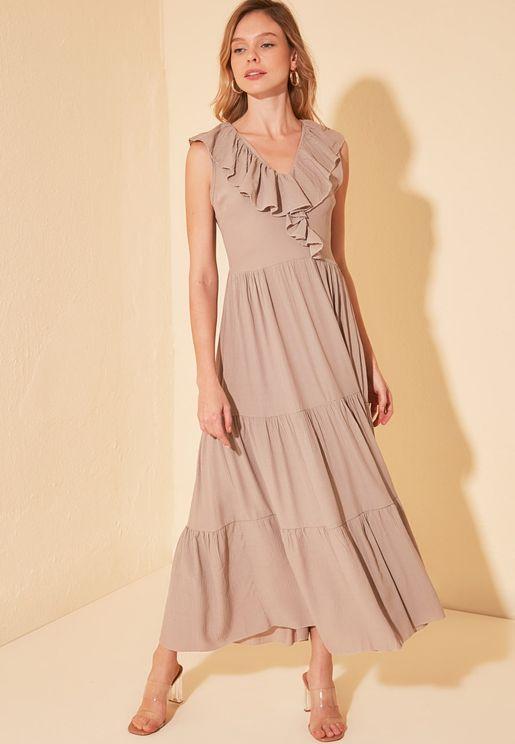 Ruffle Detail Tiered Hem Dress