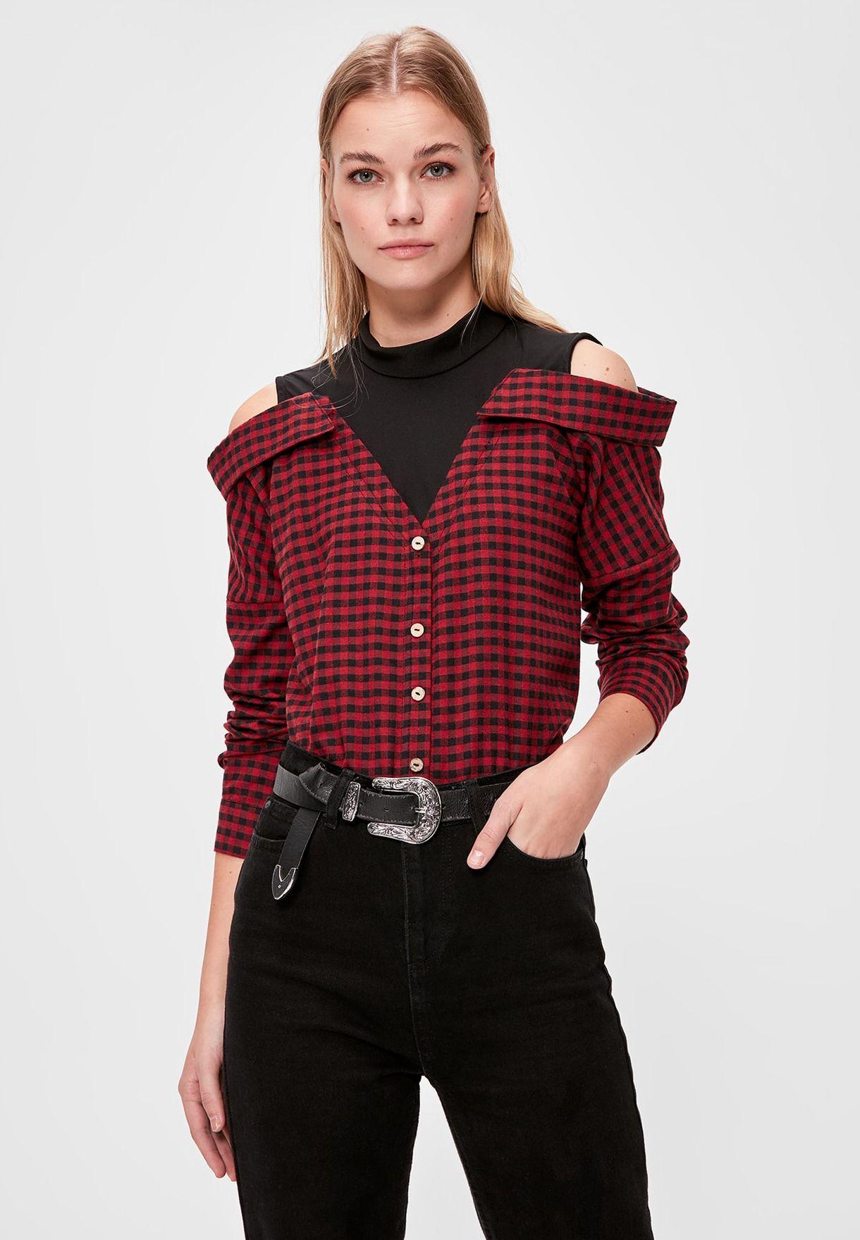Checked Bardot Shirt