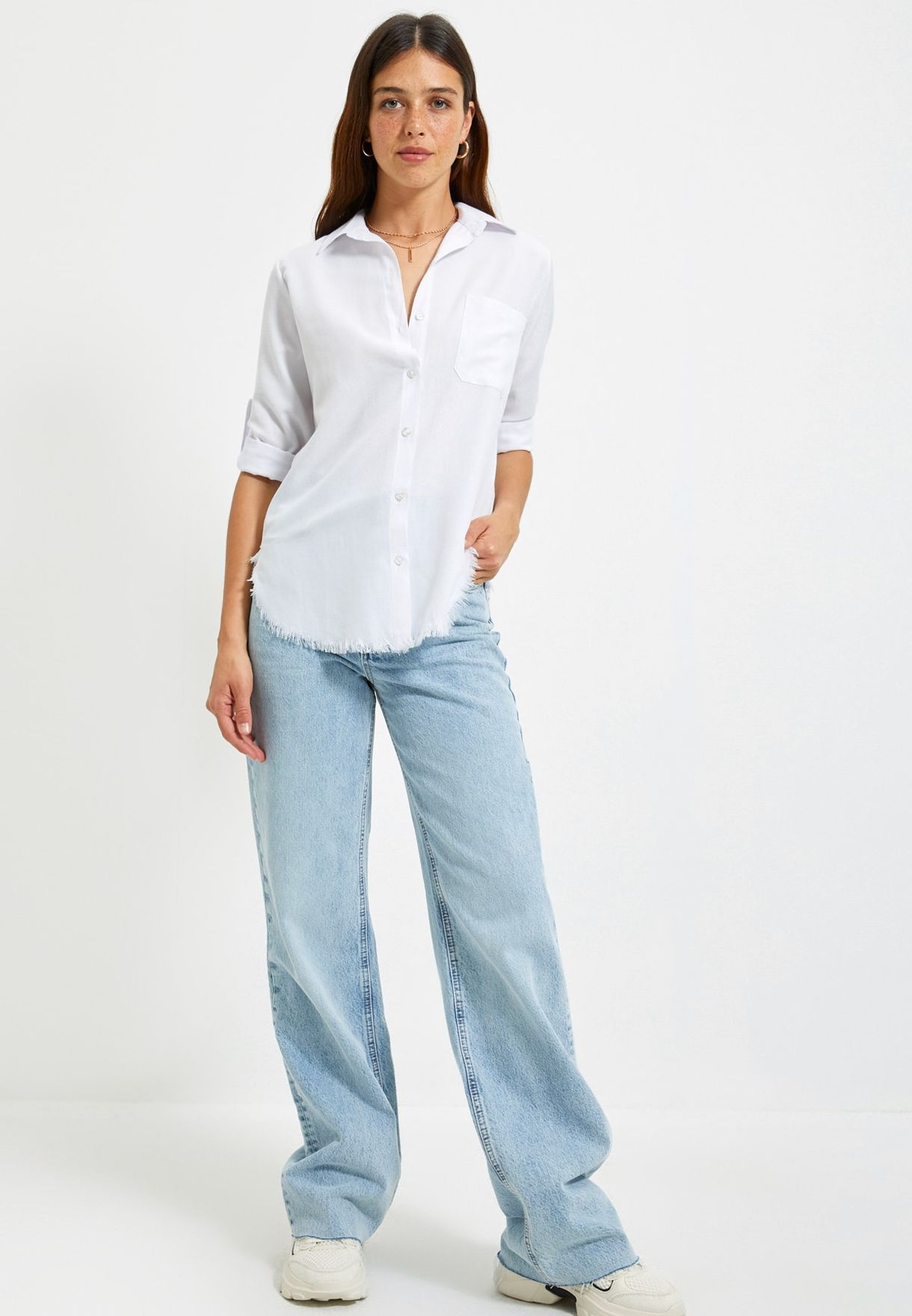 Roll Sleeve Tassel Hem Shirt