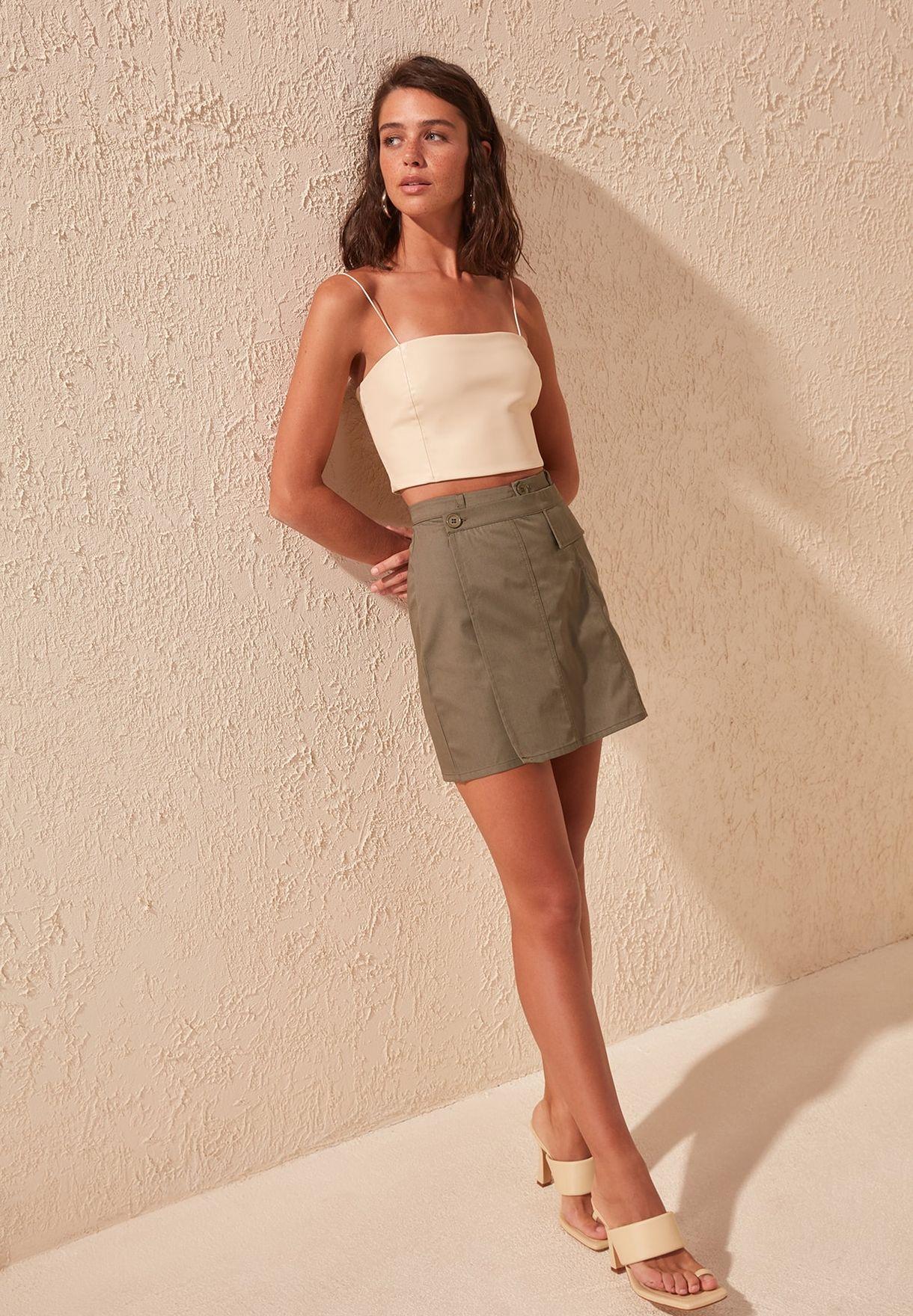1f45a8e490 Shop Trendyol khaki Button Detail Skirt TWOSS19XB0131 for Women in ...