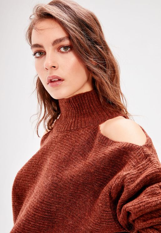 High Neck Cut Out Shoulder Sweater