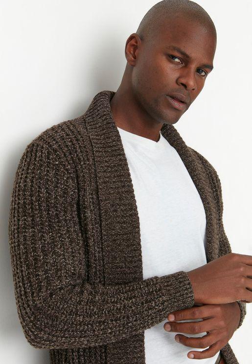 Shawl Neck Knitted Cardigan