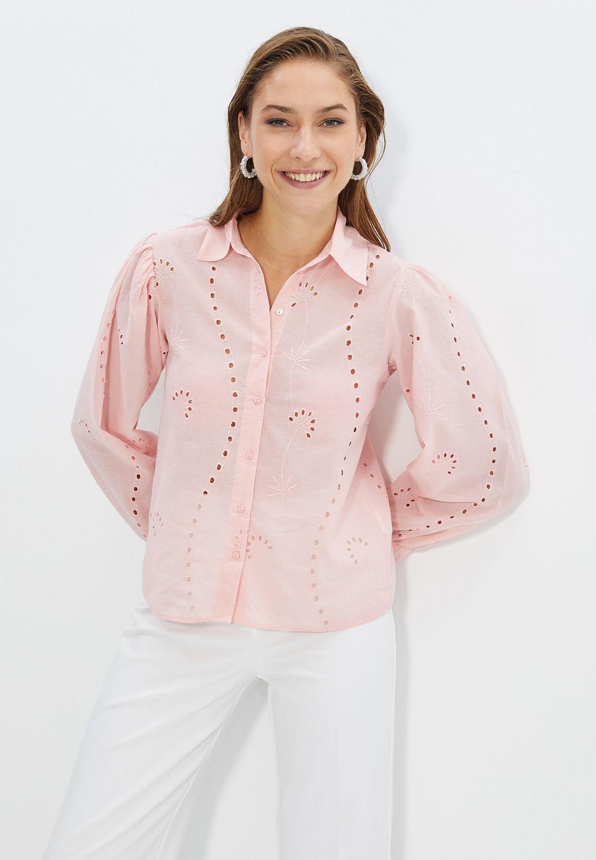 Button Down Broderie Shirt