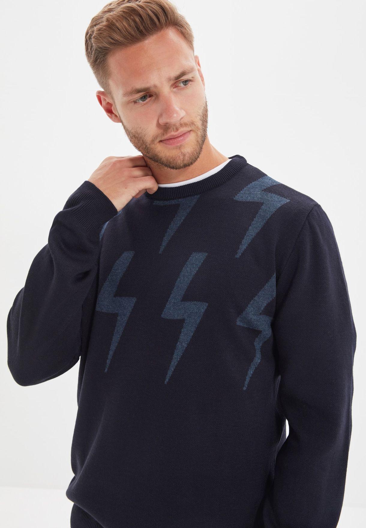 Printed Crew Neck Sweater