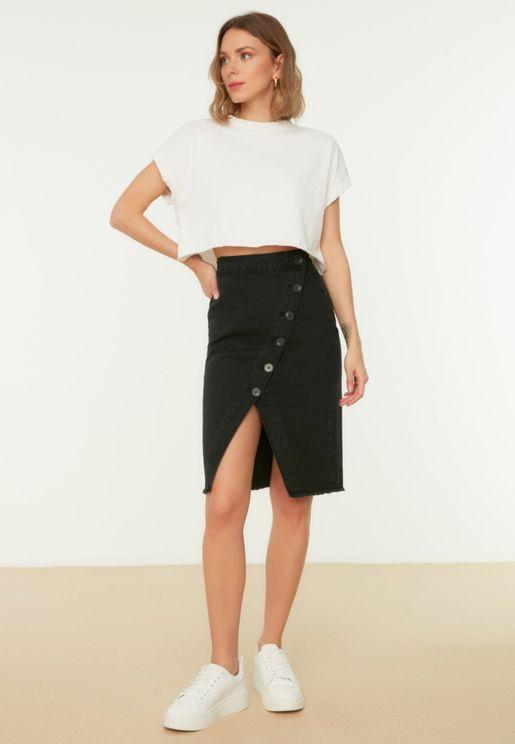 Raw Hem Wrap Denim Skirt