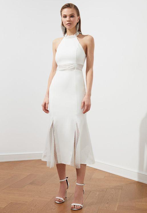 Halter Neck Lace Detail Dress