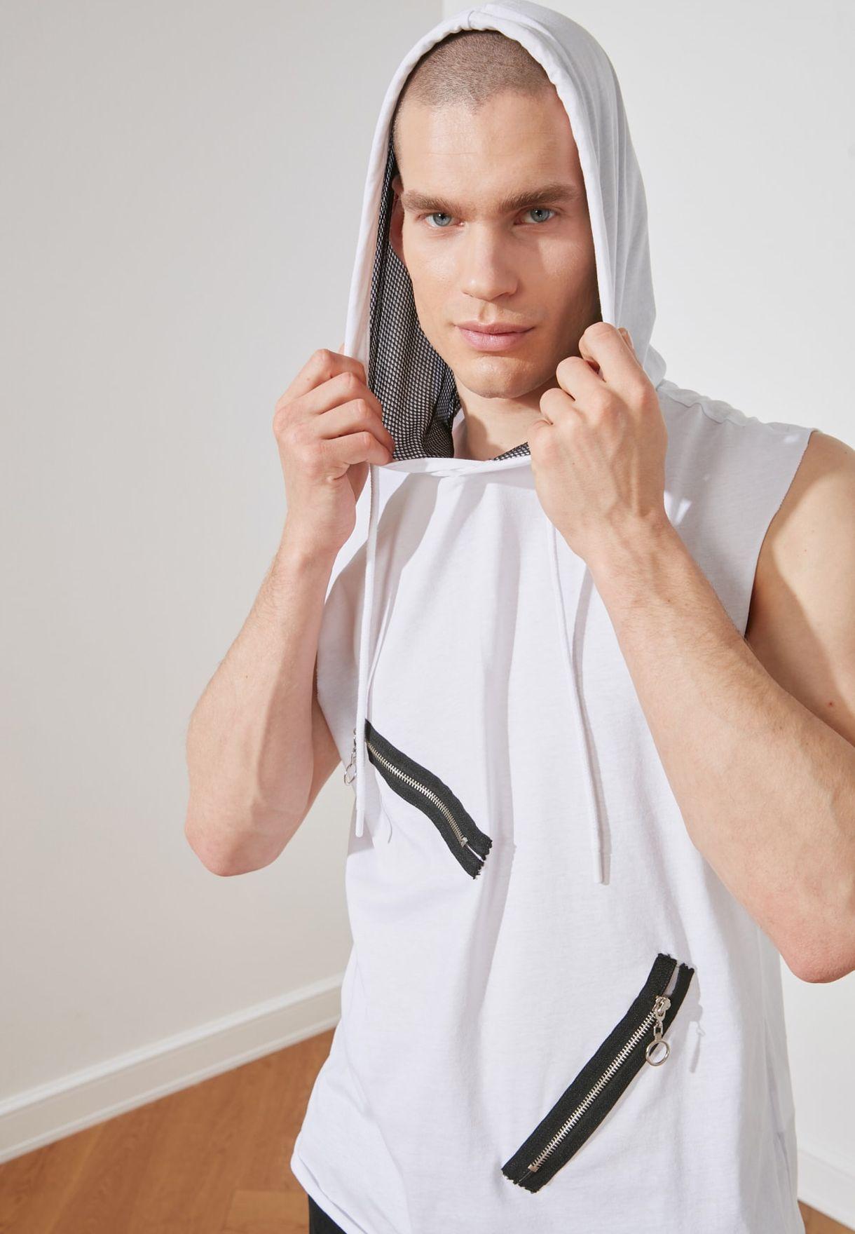 Zip Detail Hooded Vest