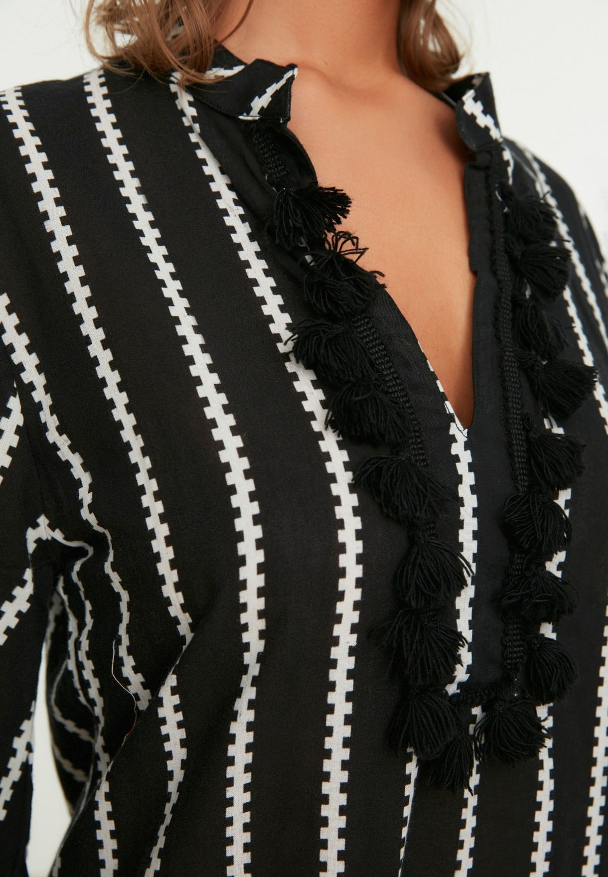 Striped Taasel Beach Kimono