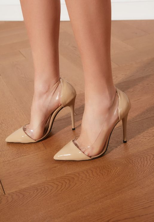 Transparent Detailed Classic Heeled Shoes