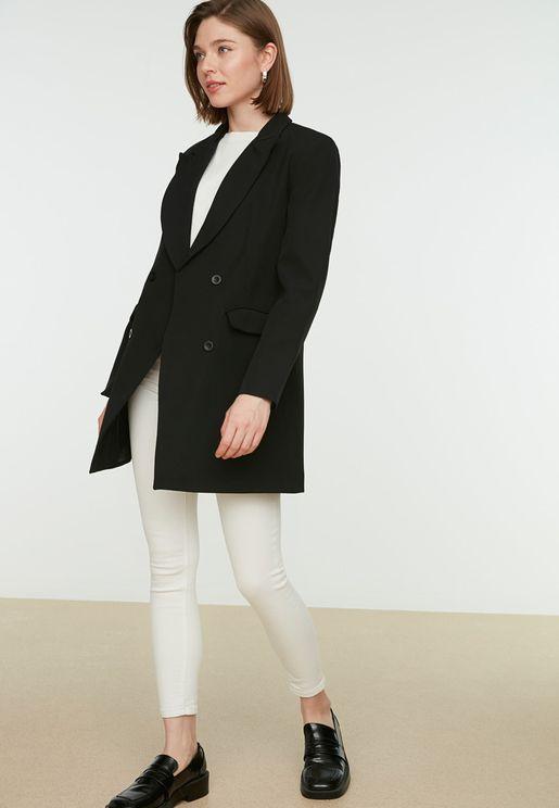 Button Detail Longline Coat