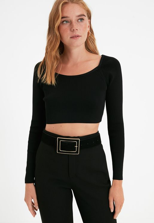 Square Buckle Detail Belt