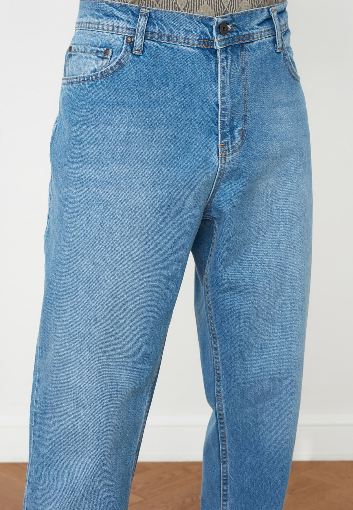 Mid Wash Relaxed Fit Jeans