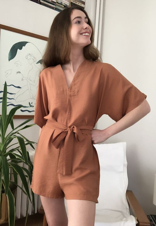 Wide Sleeve V-Neck Playsuit