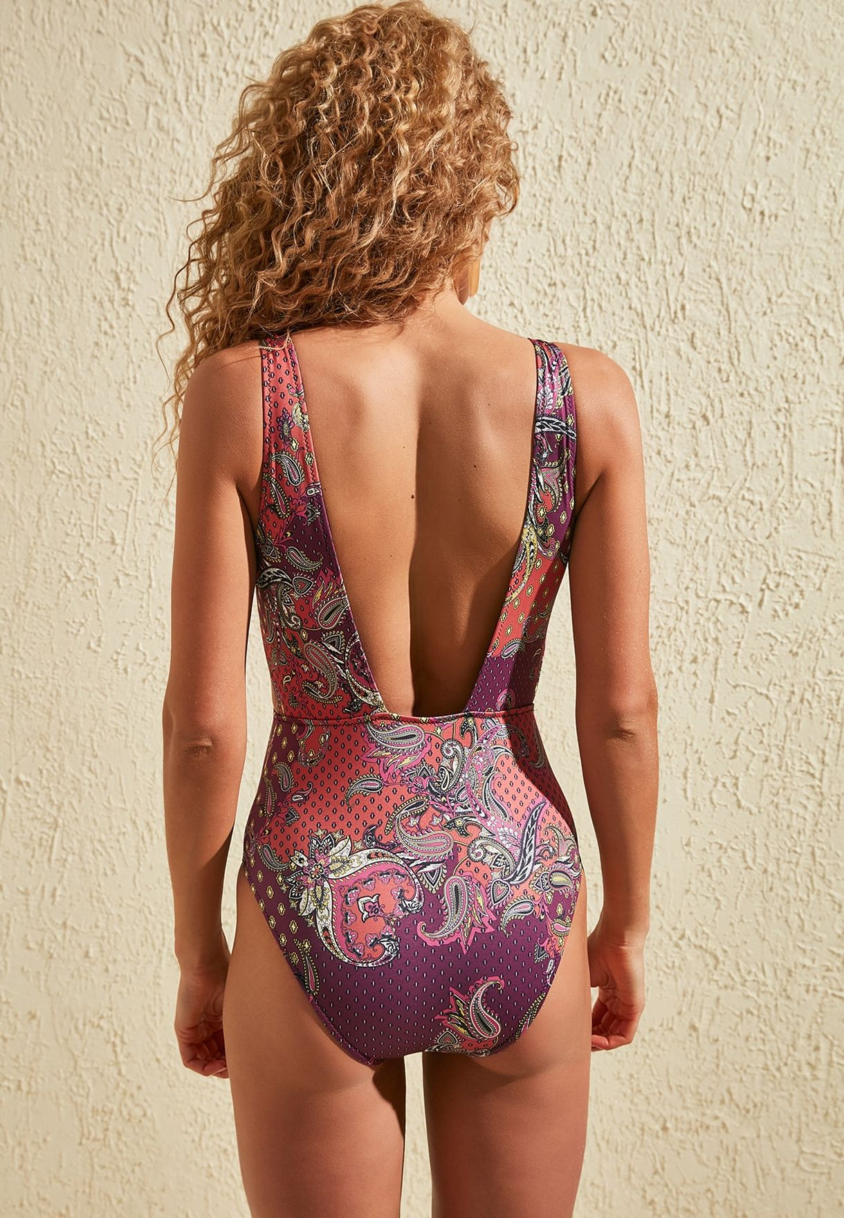 Cut Out Detail Printed Plunge Swimsuit