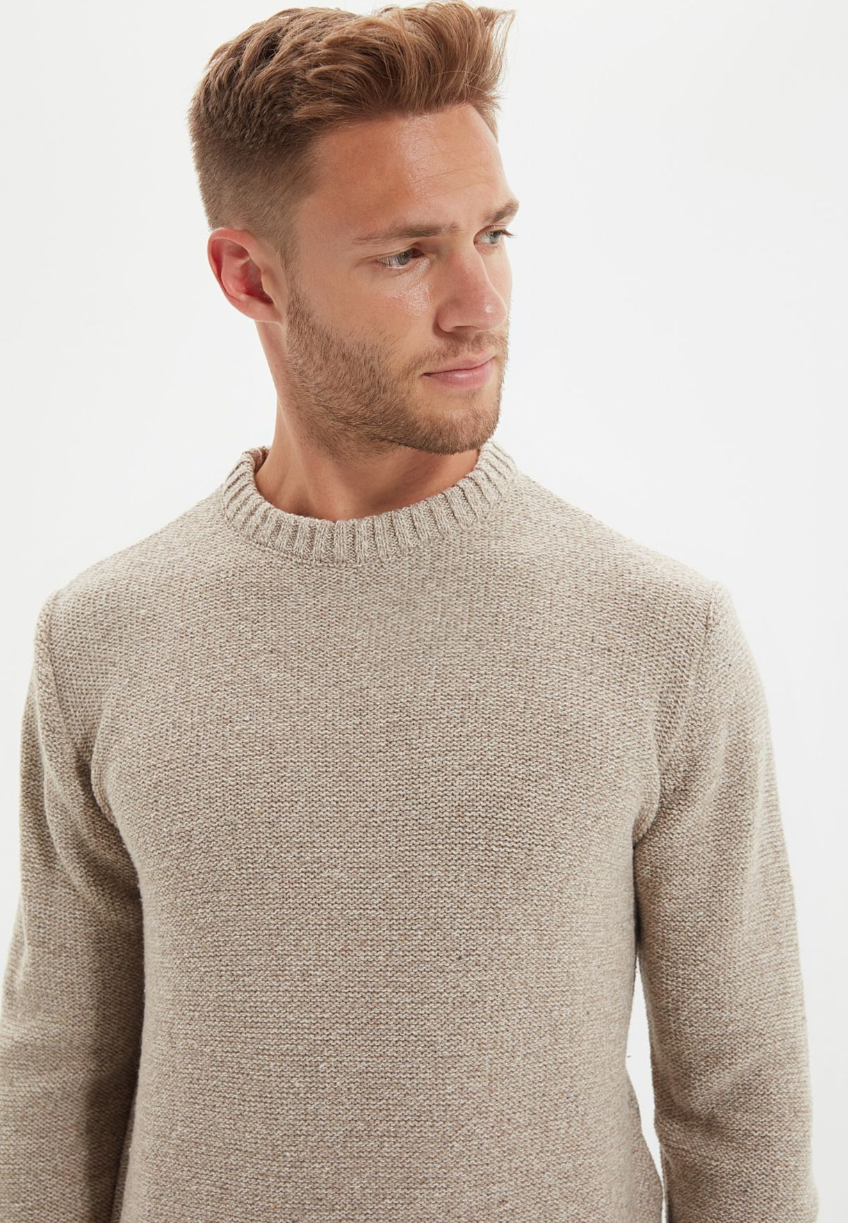 Knitted Crew Neck Sweater