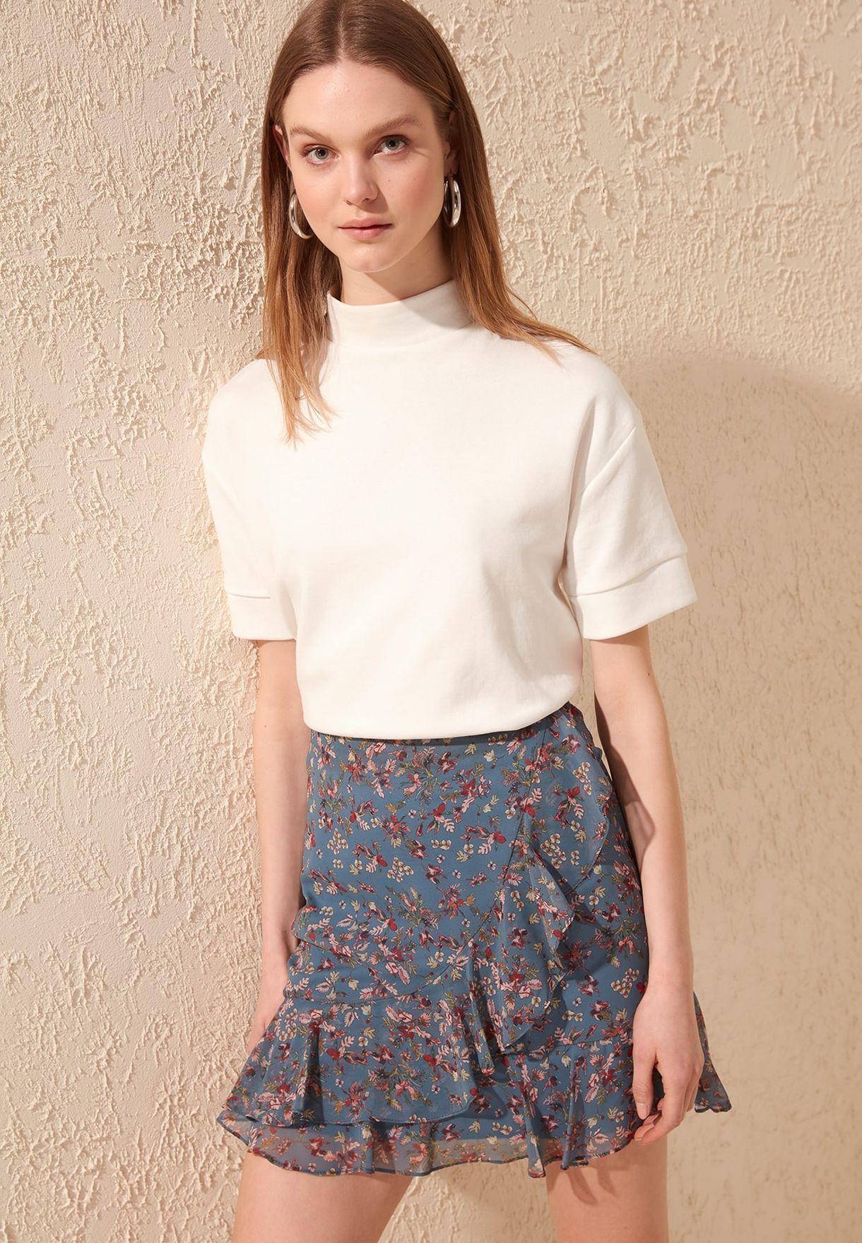 Buy Trendyol Multicolor Ruffle Trim Printed Skirt For Women, Uae 27680atwzmyp