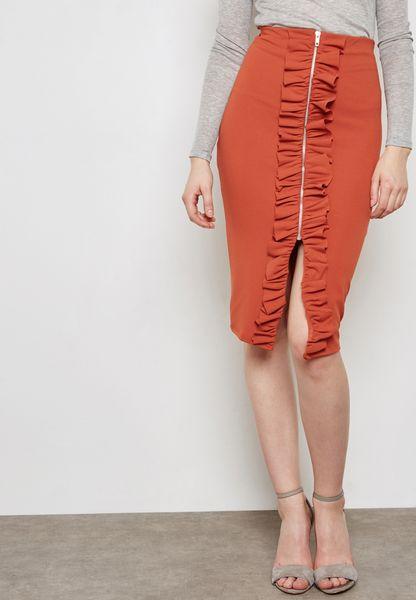 Ruffle Split Midi Skirt