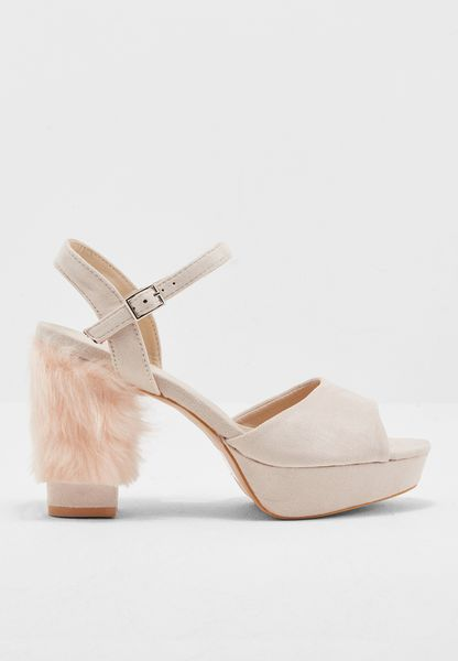 Faux fur block heel